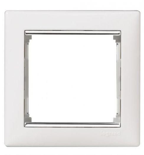 Рамка Valena белый/серебряный штрих 770491