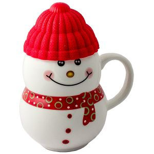 Кружка  Снеговик  красный