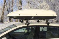 Багажник на крышу Volkswagen Golf 7, Атлант, аэродинамические дуги, опора Е