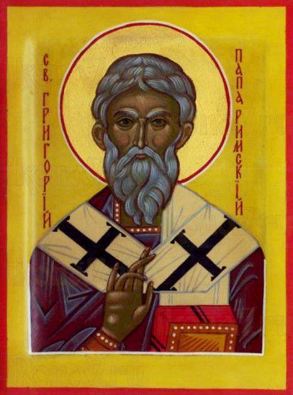 Икона Григорий Двоеслов (рукописная)