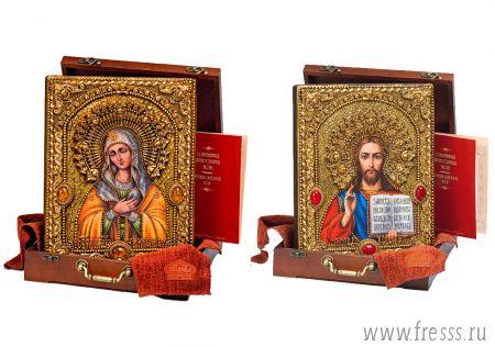 """Венчальная пара икон """"Умиление БМ и Спаситель"""" 25 х 32 см, самоцветы, позолота"""