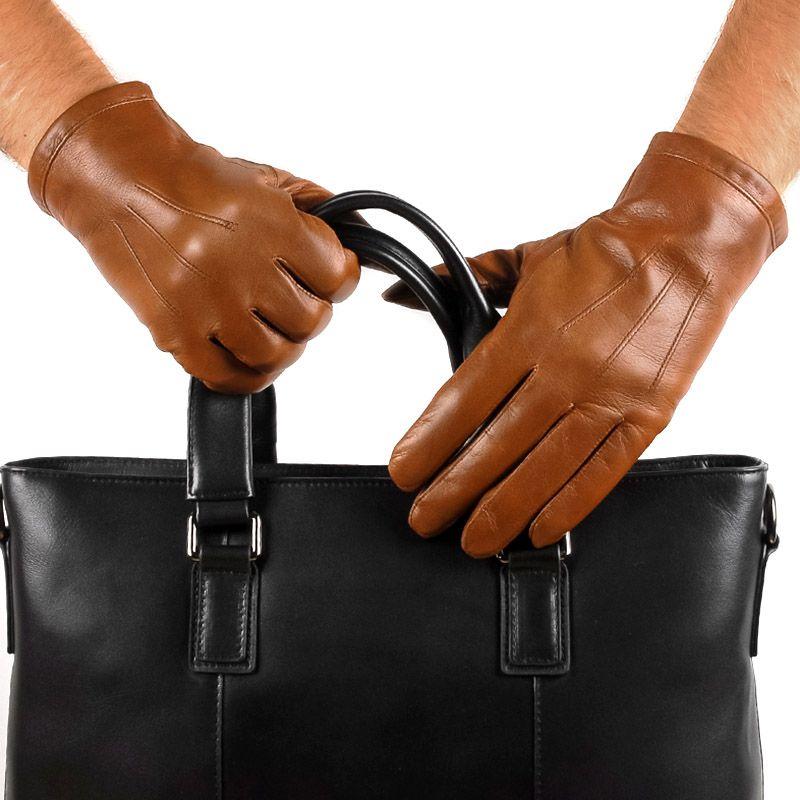 Перчатки мужские 29К_40077_10_П; кожа; коньяк (Размер 10)