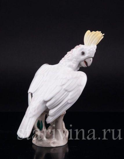 Фарфоровая статуэтка птицы Попугай какаду производства Augarten Wien, Австрия