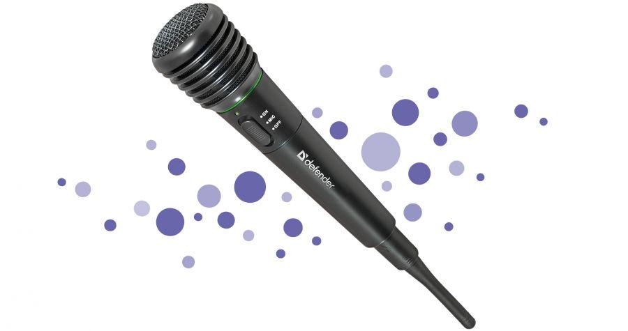 Караоке Микрофон караоке беспроводной Defender MIC-142 черный, радио 87-92 МГц