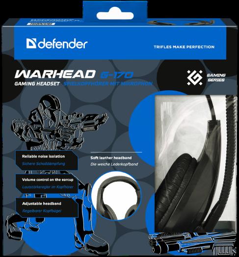 Мониторные наушники с микрофоном Игровая гарнитура Defender Warhead G-170 черный, кабель 2,5 м