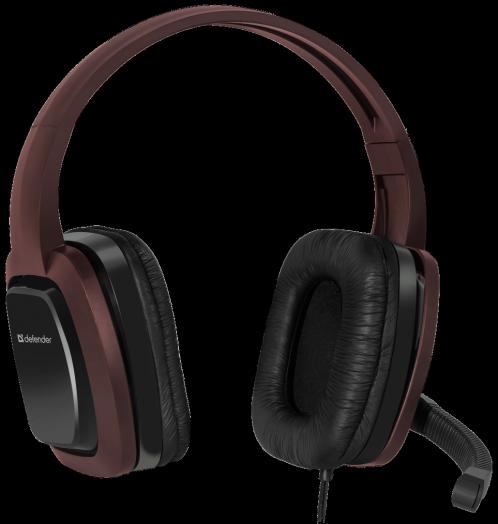 Мониторные наушники с микрофоном Игровая гарнитура Defender Warhead G-250 коричневый, кабель 2,5 м