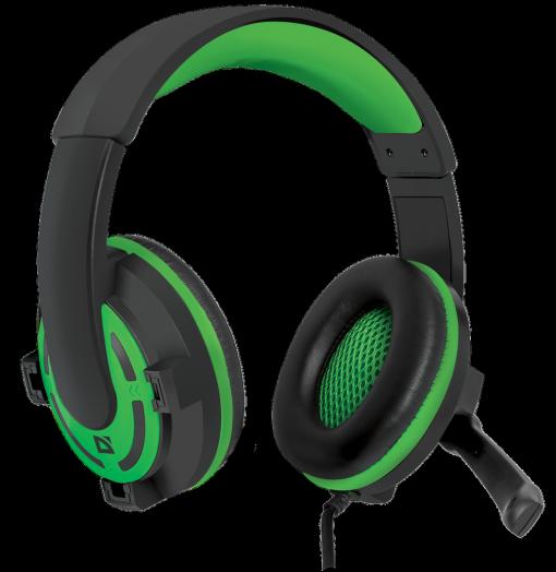 Мониторные наушники с микрофоном Игровая гарнитура Defender Warhead G-300 зеленый, кабель 2,5 м
