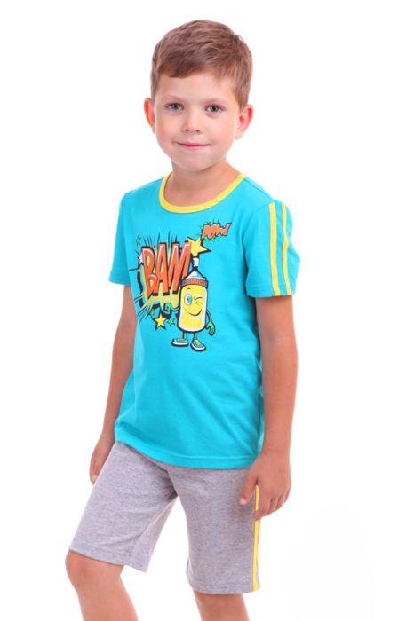 Серо-бирюзовый костюм для мальчика