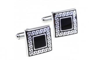 Запонки под серебро, квадрат с матовым покрытием, модель 20