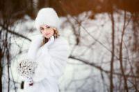 Песцовый палантин для невесты купить фото