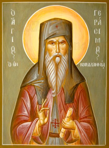 Герасим Кефалонийский (рукописная икона)