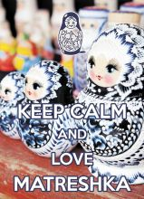Postcard KEEP CALM and love Matreshka