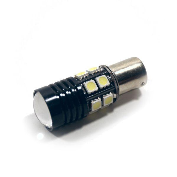 Cветодиодная лампа одноконтактная белая 10xSMD + 1xCREE 1156-P21W