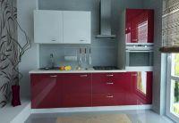 глянцевая бордовая кухня