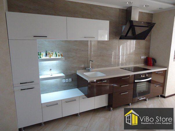 Бежевая модульная кухня в стиле модерн