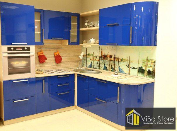 Синяя глянцевая кухня