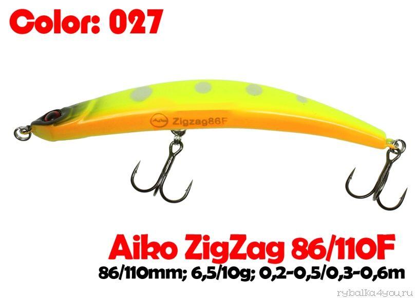 Купить Воблер Aiko ZIGZAG minnow 110F 110 мм/ 10 гр / 0,2-0,5м цвет -027