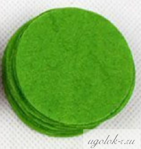 Фетровые кружочки 4 см (зеленый)