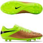 Кожаные бутсы Nike HyperVenom Phinish Leather FG золотисто-салатовые