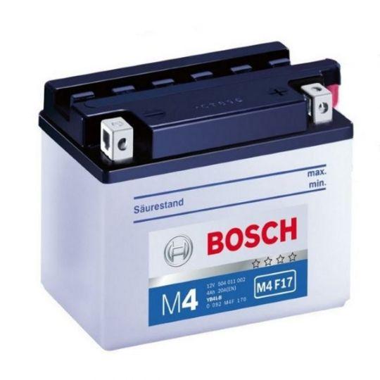Мото аккумулятор АКБ BOSCH (БОШ) M4F 170 / M4 F17  moba  12V 504 011 002 A504 FP 4Ач о.п. (YB4L-B)