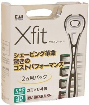 000065 Бритва безопасная мужская с 3D головкой и набором сменных лезвий «X-fit» (запасными) (4 сме