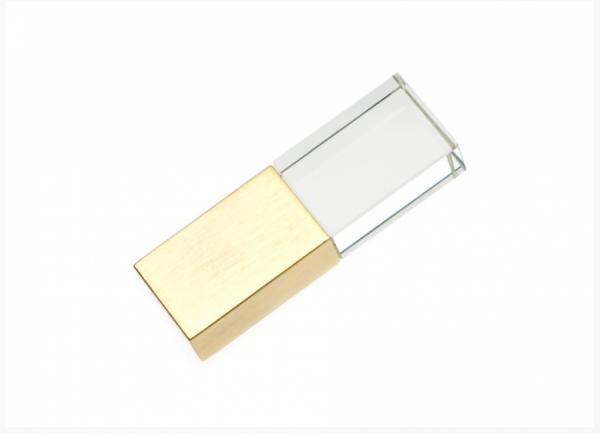 64GB USB-флэш накопитель Apexto UG-003 стеклянный, зеленый LED, золотой колпачек