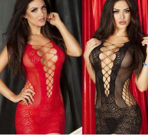 платье сеткой,черное, красное, белое  р-р 40-48, модель 123
