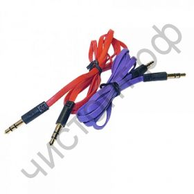 Кабель(3.5) папа-папа 3.5 stereo plug на 3.5 stereo plug - плоский провод  1 метр AUX  TS-3202