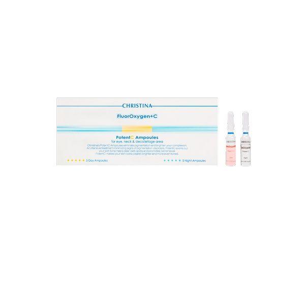 Ампулы с сывороткой для осветления кожи лица PotentC FluorOxygen+C Christina (ФлюрОксиген Кристина) 10 ампул