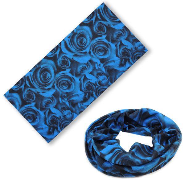 Многофункциональная бандана с розами (синяя)