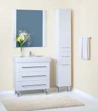 Набор мебели для ванной комнаты Бриклаер Аквавита, 3D, белый глянец.