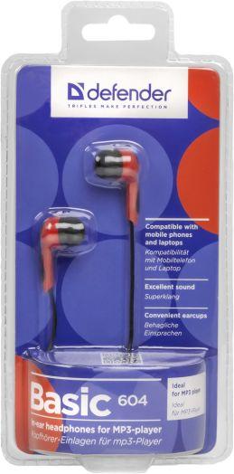Наушники вакуумные - гарнитура Defender Basic 604 черный + красный