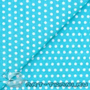 Ткань 50х40 Горошки на голубом