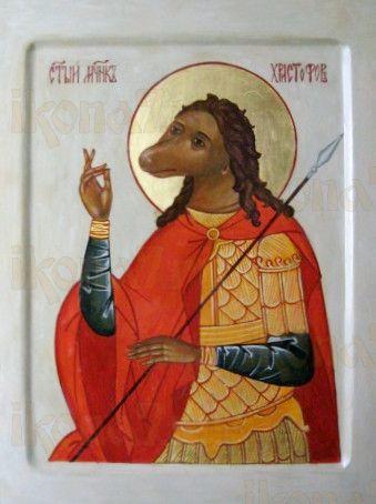 Христофор Псеглавец (рукописная икона)