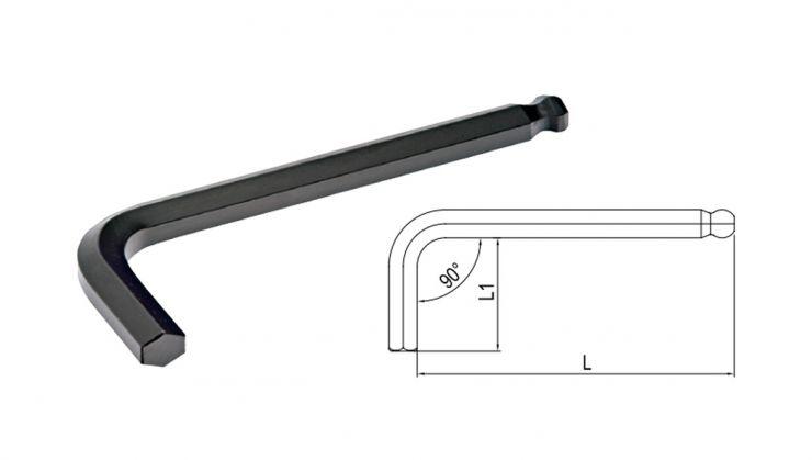 Ключ 6-гранный Г-образный с окр. наконечником 4мм