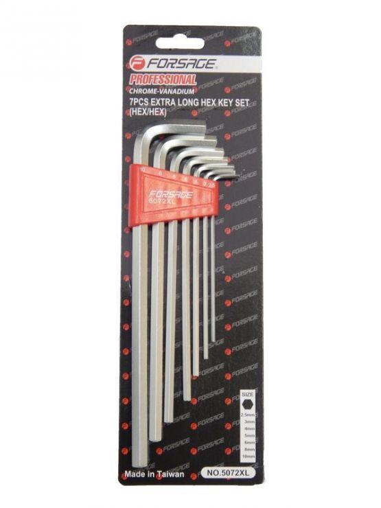 Набор ключей 6-гранных Г-образных экстра длинных 7пр. (2.5, 3-6, 8, 10мм) в пластиковом держателе