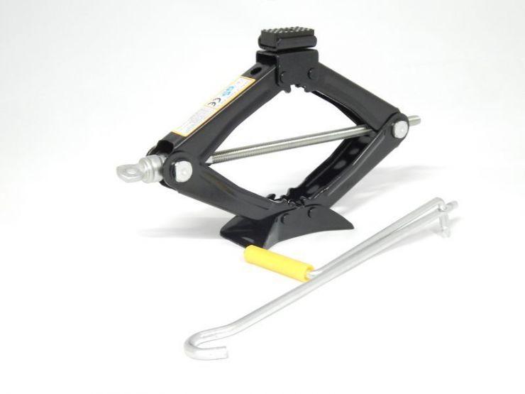 Домкрат механический (ромб) 1.2т с резиновой накладкой (h min 100мм, h max 350мм)