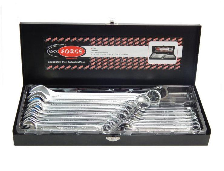 Набор ключей комбинированных 16пр. (6-19, 17,22, 24мм) в металлическом кейсе