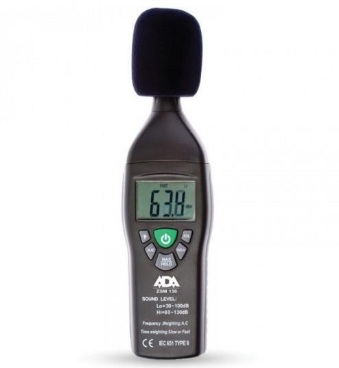 Шумомер в диапазоне от 35 до 130 дБ, в диапазоне 31.5 Гц-8 кГц