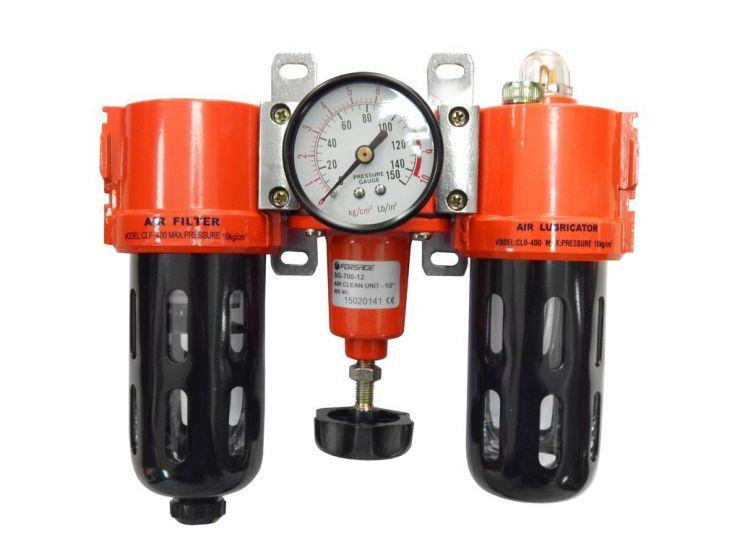 Блок подготовки воздуха  (фильтр 5Мк + регулятор + маслодобавитель) 1/2' (0-10bar)