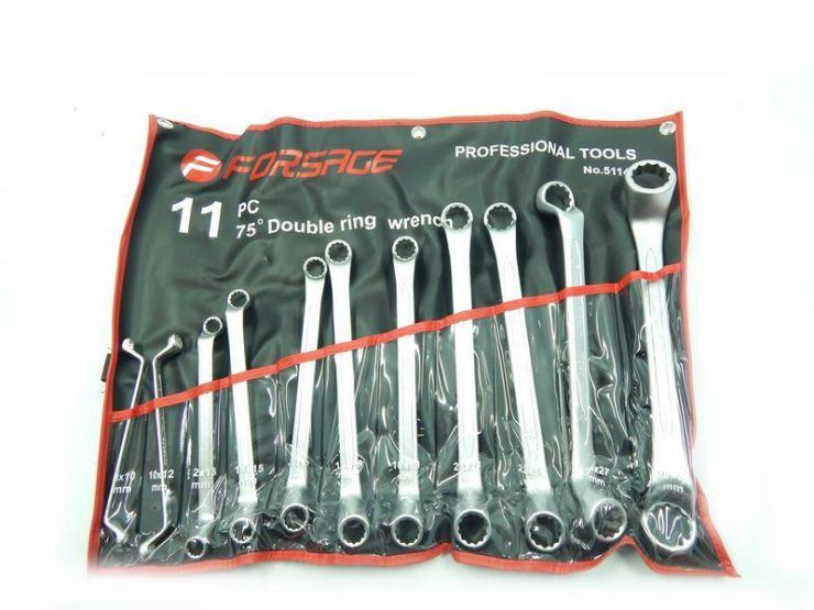 Набор ключей накидных отогнутых на 75грд. 11пр.(8x10мм30x32мм)на полотне