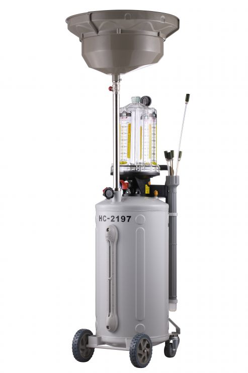 Вакуумная установка для маслозамены через щупы  расширеной сливной воронкой, индикатором заполнености бака и предкамерой.  Емкость бака.80л. Давление вакуума 8 Bar. Макс. давление откачки 1 Bar. Скорость откачки 6,5л./мин. Емкость сливной воронки 20л. Емк