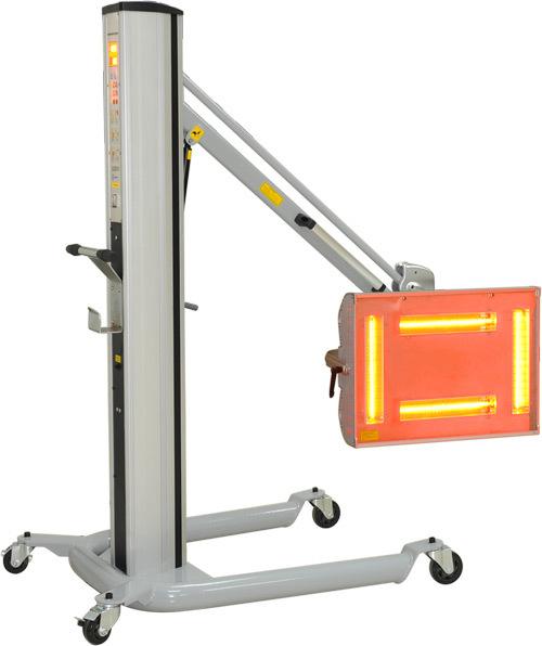 Инфракрасная сушильная установка. Стойка с пневмоцилиндром; одна кассета с четырьмя лампами;  электронное программирование времени и мощности предварительной и основной сушки; возможность изменения площади,  за счёт изменения количества включенных ламп. М