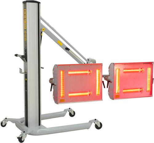 Инфракрасная сушильная установка. Стойка с пневмоцилиндром; две кассеты с четырьмя лампами;  электронное программирование времени и мощности предварительной и основной сушки; возможность изменения площади,  за счёт изменения количества включенных ламп. Мо