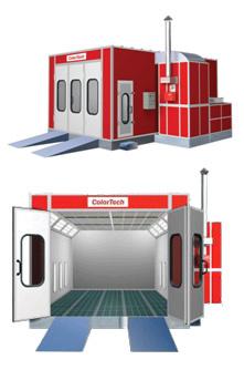 Сушильно-окрасочная камера.  Внутренние размеры (ДШВ): 7 x 4 x 2,65 м.  Производительность: 18 000 м3/ч.  Горелка: Riello RG 4S, мощность 237 кВт.  Полностью решетчатый пол, четырехстворчатая въездная дверь, боковая сервисная дверь, металлическое основани