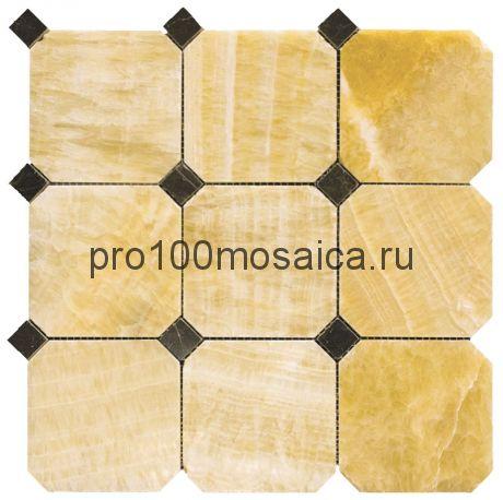 M073+M076-BP10 Мозаика Оникс+Мрамор 100*100+20*20 OCTAGON 305*305*10 мм (NATURAL)