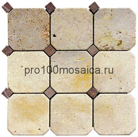 M090+M074-BT Мозаика Травертин+Мрамор 100*100 OCTAGON 305*305*10 мм (NATURAL)
