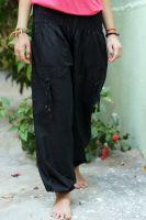 Черные женские однотонные шаровары из Индии. Можно купить в Санкт-Петербурге с доставкой или самовывозом