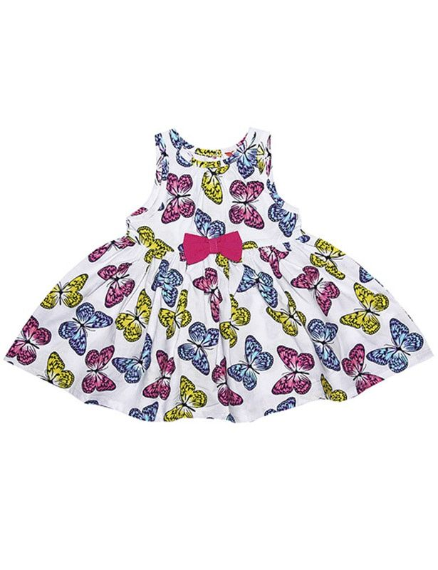 Белое платье с бабочками