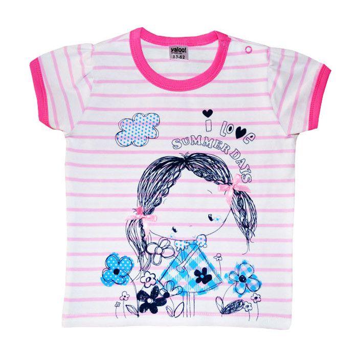 Бело-розовая полосатая футболка